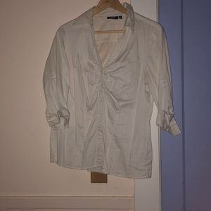 White 3/4 Sleeve Buttondown Blouse